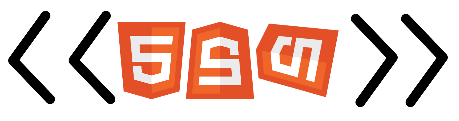 Three HTML5 badges in a row inside angle brackets like an html tag name. The first one has the normal orientation. The second one is upside down. The third one has a random orientation.
