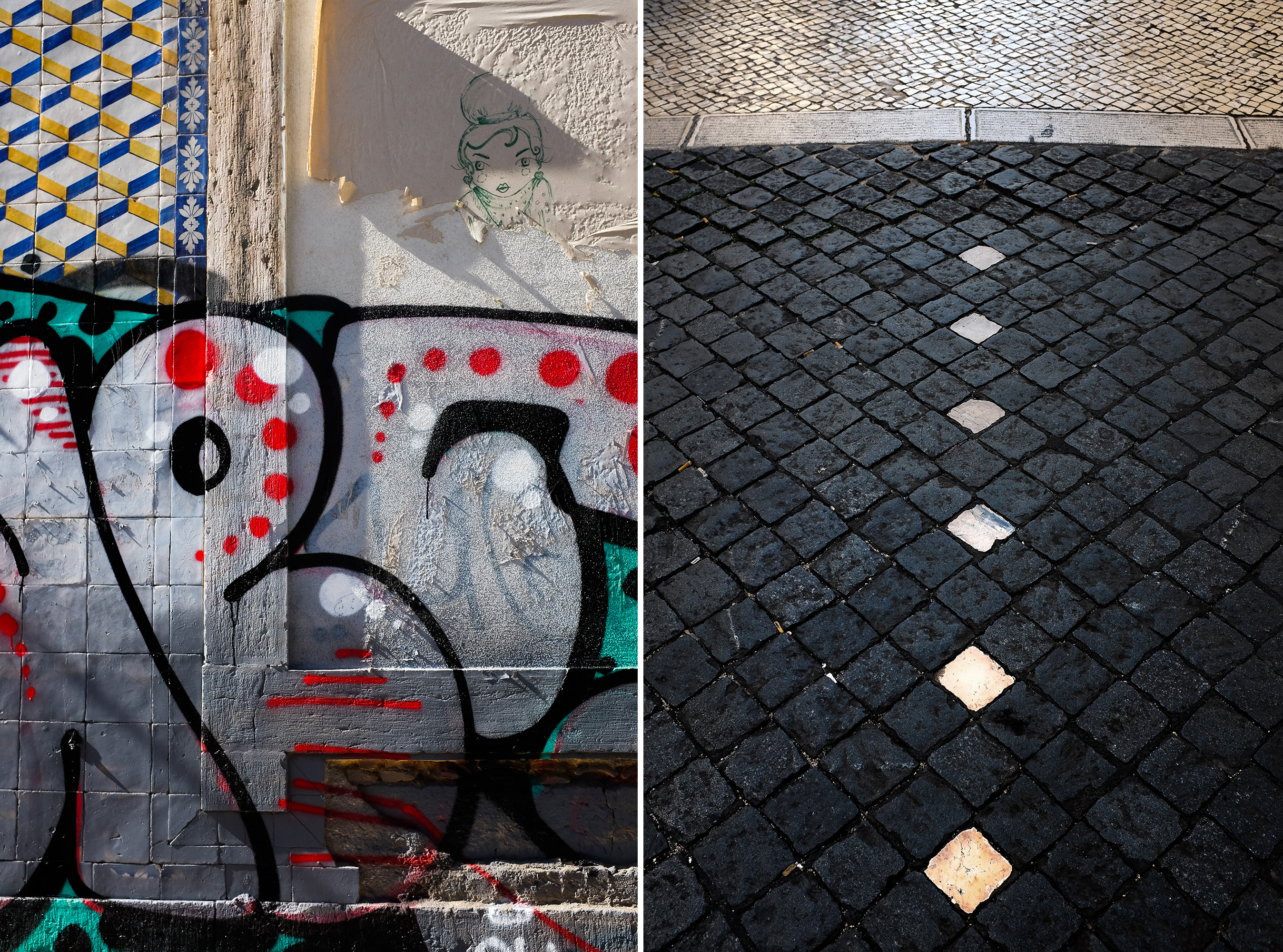 Diptych of Lisbon graffitti in portuguese tiles together with the downtown Lisbon ground