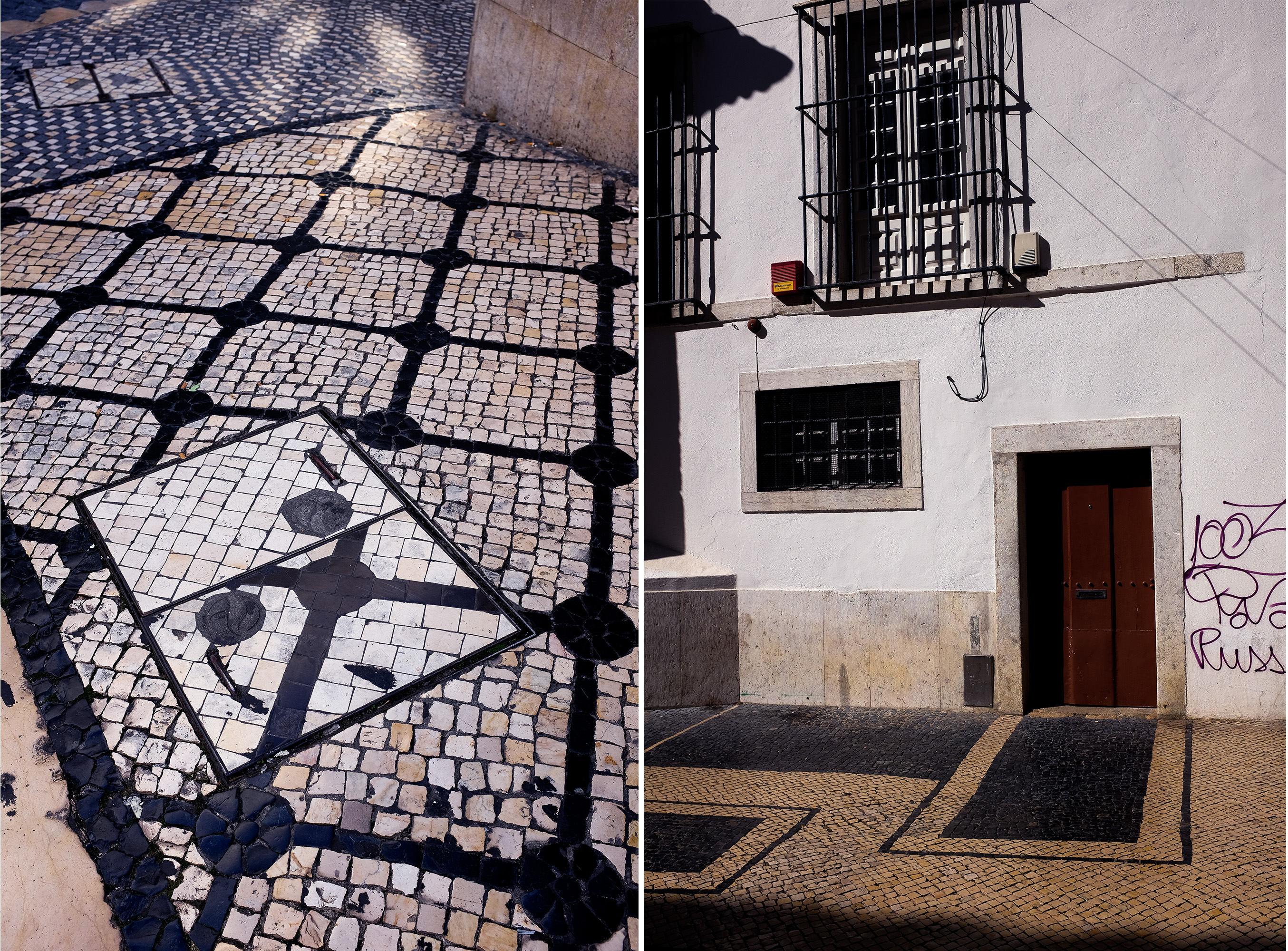 "Diptych of a messed up sidewalk diagonal grid and the door detail of a church in ""Martim Moniz"" where the frontage is entirely rendered on the ground sidewalk"