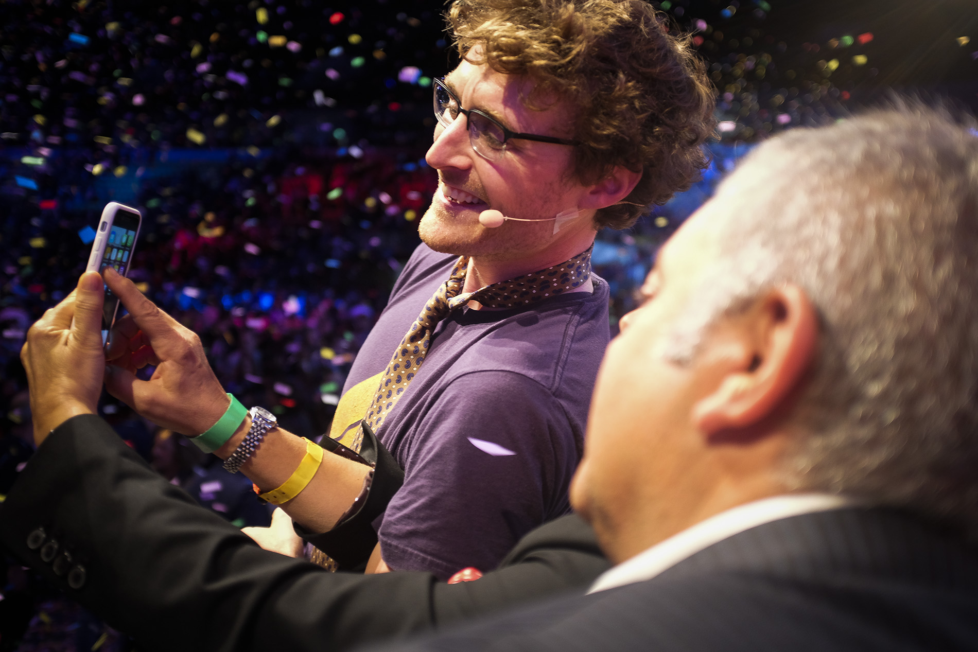 Paddy Cosgrave taking a selfie on the Center Stage during the opening night