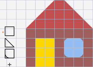 Simple house with squares, triangles, and a rounded square