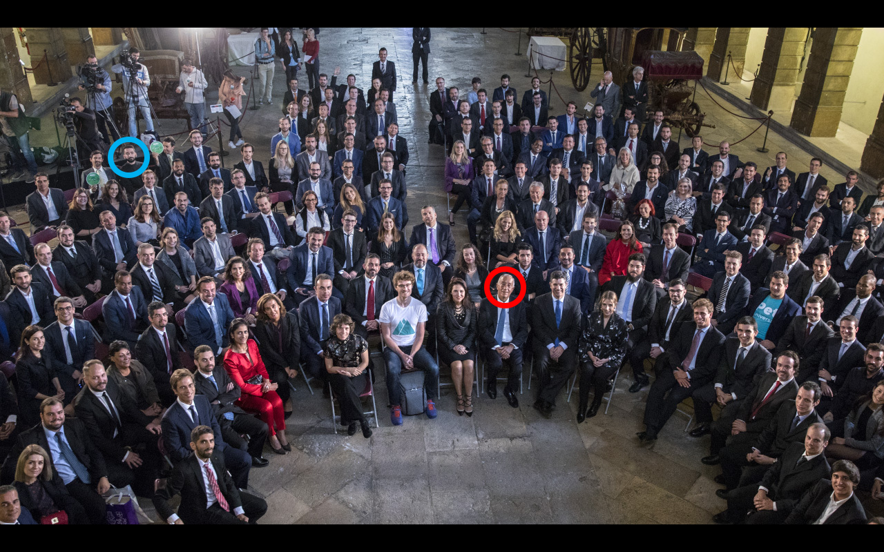 Me, the guy with no suit near the camers, with a blue circle. Marcelo, the president, at front with a red circle