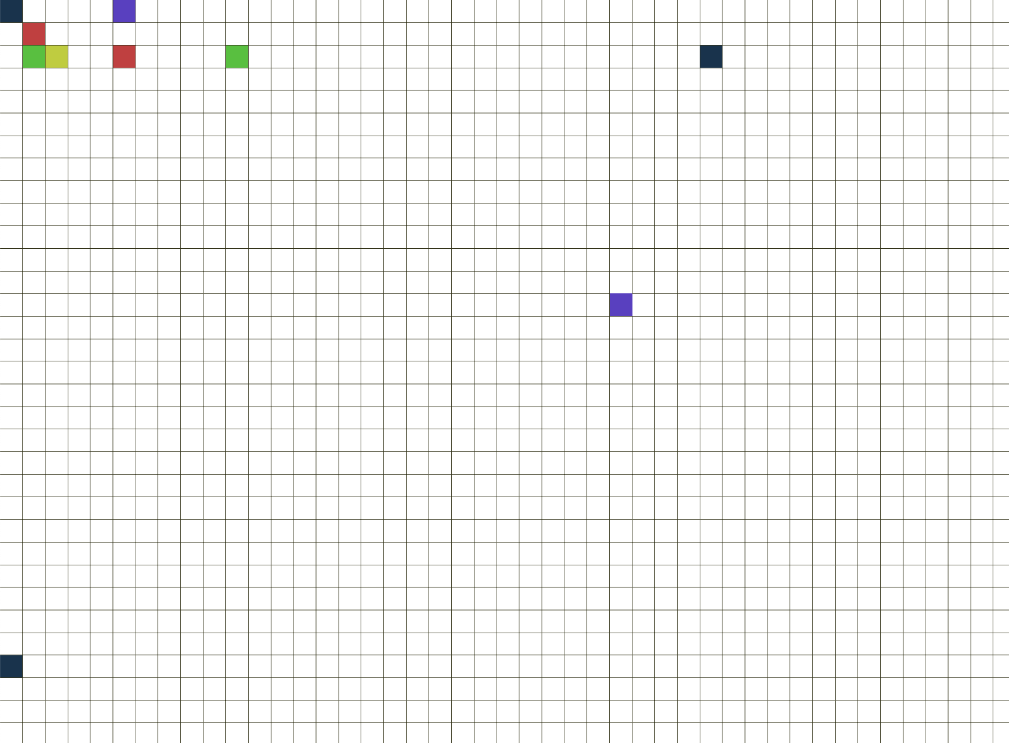 A square grid with some squares painted in random colors