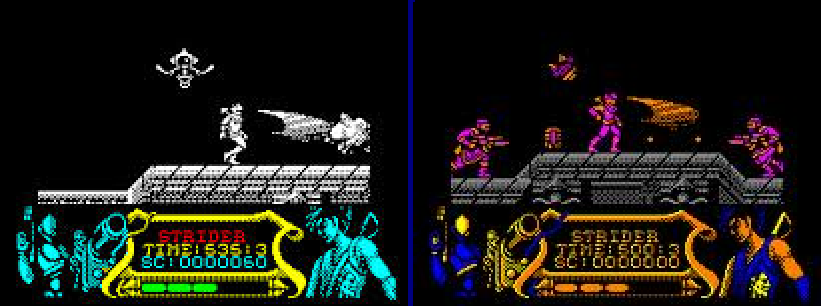 "The game ""Strider"" in Spectrum(left) and in the Amstrad CPC(right)"